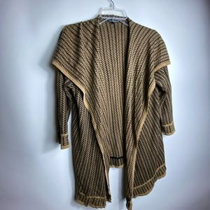 cable gauge Womens Cardigan Sz L  Black With Tan